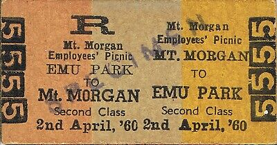 Railway tickets QR Mount Morgan to Emu Park second class employee's picnic 1960