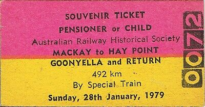 Railway tickets QR ARHS Mackay to Goonyella and Hay Point return 1979