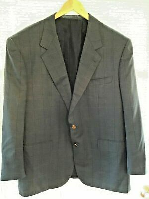 BRIONI Men's Silk Wool Blazer Metallic Blue Metal Buttons 48R 50R