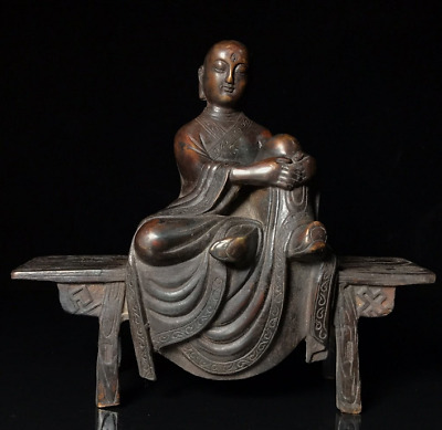 Old China antique Tibetan Buddhism Pure copper Bench Buddhism image statue