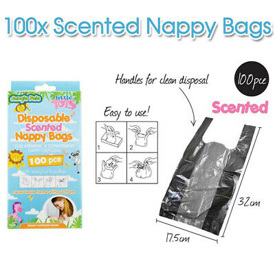 100pcs Baby scented nappy sacks bags disposable puppy poo / small bin liner AU