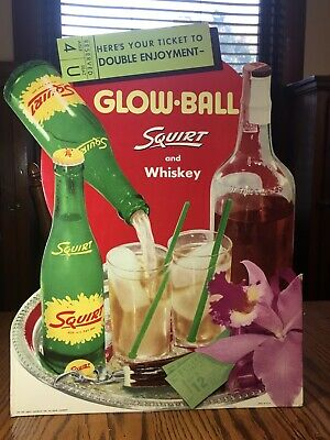 Vintage 1952 Whiskey and Squirt Glow Ball Sign Cardboard Bar Display Bottle Rare