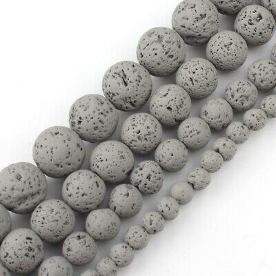 4/6/8/10mm Natural Grey Hematite Lava Stone Round Beads Spacer Loose Matte Beads
