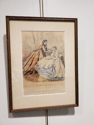Framed La Mode Illustre Handcolored Parisian Victorian Fashion Print
