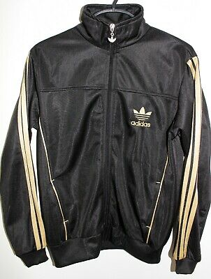 ADIDAS Boys Age 11-12 Classic 3 Gold Strip Black Tracksuit Zip Up Top/ Jacket