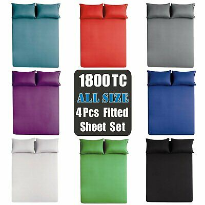 Soft 4Pieces Fitted Sheet Set 1800TC S/K Single/Double/Queen/King/Super King Bed