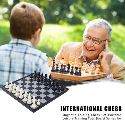 Magnetic Folding Chess Set Portable Chessboard Game Toy Black White Chess UK