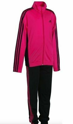 Adidas Girls Tracksuit Decadia Pink Black Size 5-6 years Slim Fit New £19.99