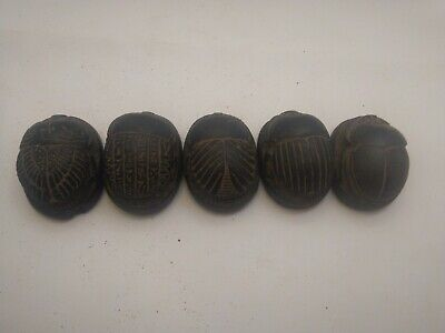 RARE ANTIQUE ANCIENT EGYPTIAN 5 Scarabs Good Luck Hiroglyphic 1741-1650 Bc
