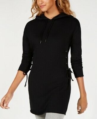 Material Girl Active Black Lace-Up Hoodie Dress Size XS