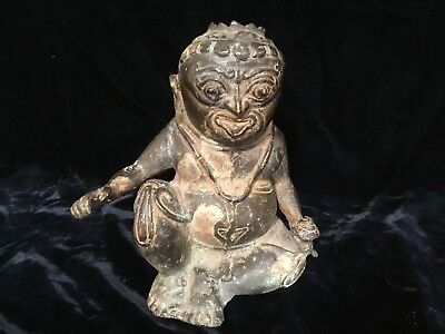 "Antique Chinese south East Asian Qing 18thC bronze figure 7"" old patina SUPER"