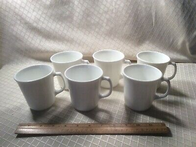 Set of 6 Corning Corelle Winter Frost White D-Handle Coffee Cups Mugs VGC Lot