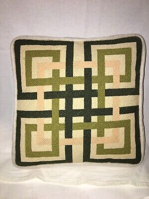 VTG MCM Needlepoint Throw Pillow Geometric Design Custom Made Green, Pink, Cream