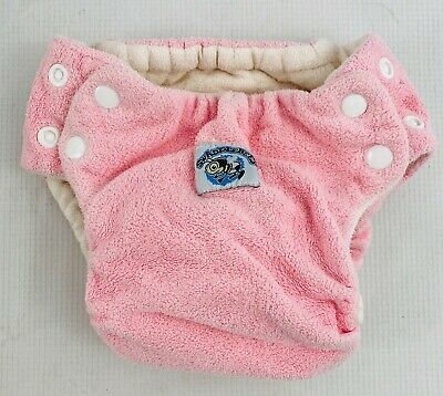 SwaddleBees Medium Pink Diaper Cover Terrycloth All in One AIO Adjustable Cloth