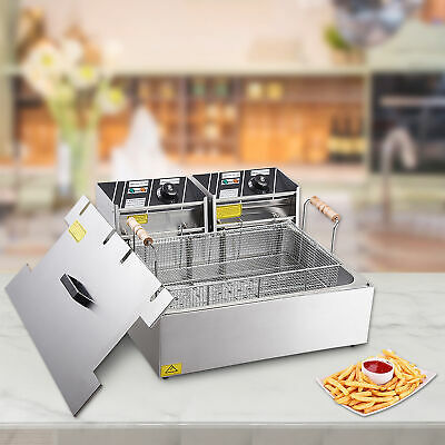 20L Electric Commercial Deep Fryer Chip Basket Single Large Tank Stainless Steel