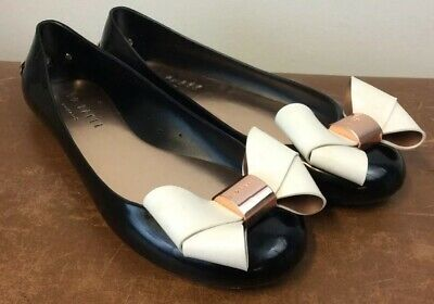 Ted baker black and rose gold faiyte bow jelly pumps shoes 37 4