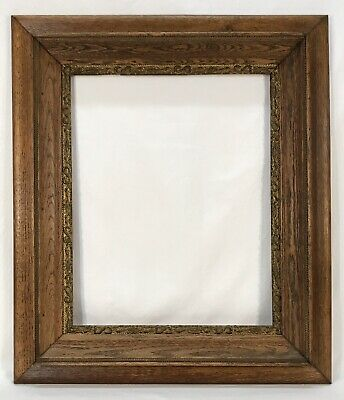 Antique Late 19th C Oak Wood & Gold Gesso Frame 16 x 20 Opening