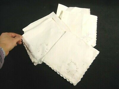 Antique Set Of Five Embroidered Cotton Napkins Handkerchiefs Floral Butterfly