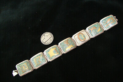 Antique Sterling Silver Taxco Bracelet Turquoise & Brass Pre-Columbian style pan