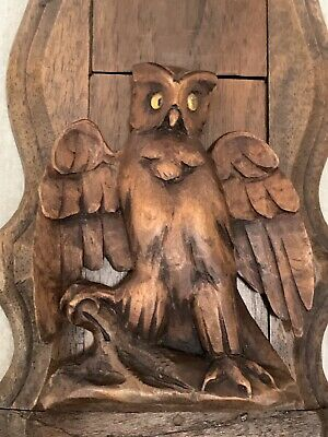 19th C Black Forest Carved Figural Owl Book Slide/Stand,Adjustable W/ Glass Eyes