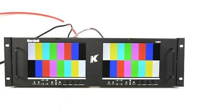 """Marshall V-MD72-3GSDI Dual 7"""" LCD Rack Monitor With 2x MD-3GE Modules #1"""