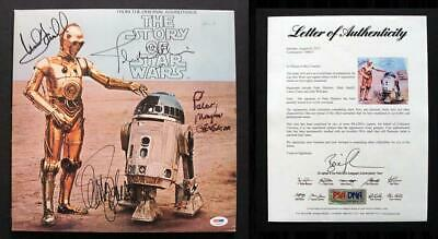 PSA/DNA Mark Hamill, Carrie Fisher, John Williams, Peter Mayhew SIGNED Star Wars