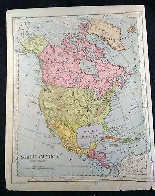 Antique Color 1880 Map of North America - Political Map - 9.25x12""