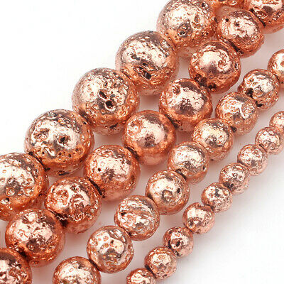 Natural Stone Rose Gold Lava Stone Round Loose Beads For jewelry Diy 6mm 15.5''