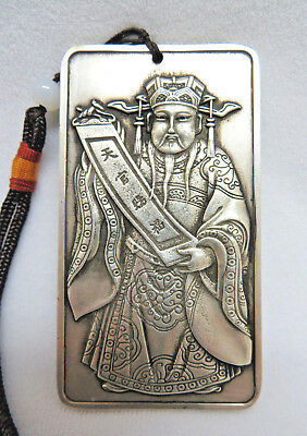 Tibetan Silver Chinese Male Figure of Wealth Paperweight Bar Tablet ~ 169 grams