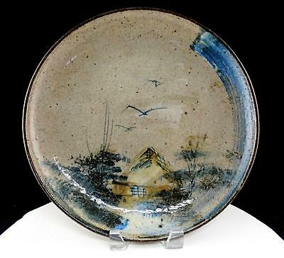"Studio Art Pottery Hand Painted Lake Scene Large 12"" Plate"