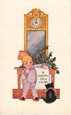 Little Boy, Black Cat & Holly- Grandfather Clock-1925 Whitney Art Deco New Year