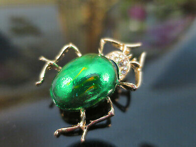 Gorgeous Vintage Art Deco design Green Beetle Brooch, gold tone, rhinestones