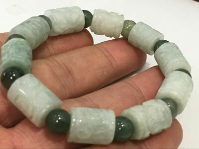 Chinese Exquisite Handmade flower Carving jadeite jade beads Bracelet11x14mm3655