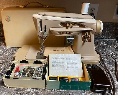 Singer 503a Rocketeer Slant-o-matic Sewing Machine with Case Accessories Used