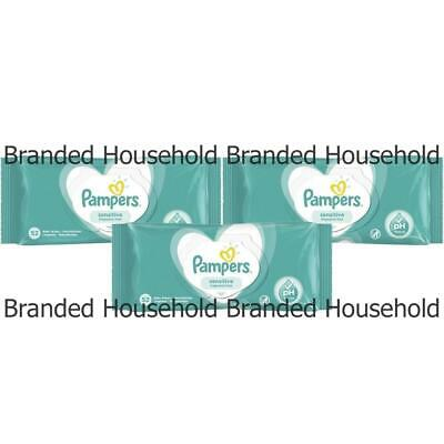3 x PAMPERS SENSITIVE FRAGRANCE FREE BABY WIPES PACK 52 WIPES