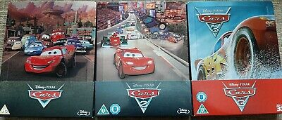 Cars Trilogy Blu Ray Steelbook Set - Disney Pixar - Cars, Cars 2 & Cars 3