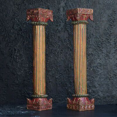 Early 20th Century Hand Carved Ornate Oak Pillars