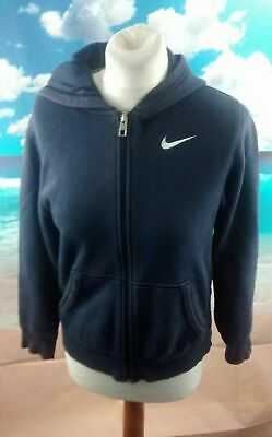"Nike Swoosh blue full zip Hoodie. 16"" pit-to-pit, 23"" length, Age 12, Age 13"