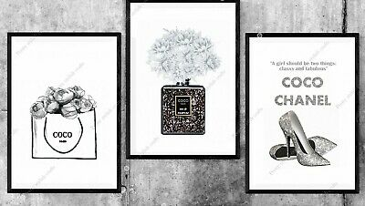 Set of 3 Coco Wall Art Prints Grey home Room Bedroom Poster UK inspired