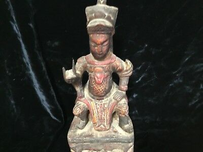 """antique Ming Chinese wood carved lacquer statue seated official 11.5"""" has niche"""