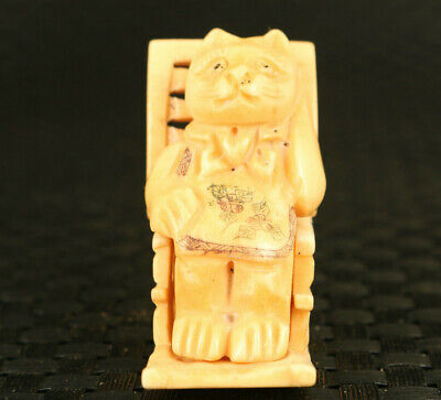 unique Chinese old antler hand carving happy cat statue collect decoration gift