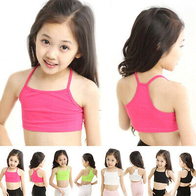 Cottons Girls Camisole Baby Child Sports Dance-Tube Crop Tank Tops Vest T-shirt