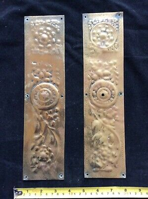 Antique Brass Hand Pressed Finger Plates Very Old Perhaps Georgian