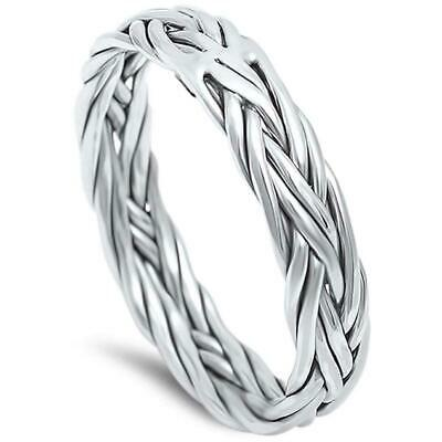 Woven, Braided Celtic 925 Solid Sterling Silver Wedding Band Sizes 6-13