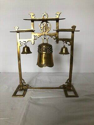 Antique Brass Temple Bell Gong Fancy Stand Chinese ?