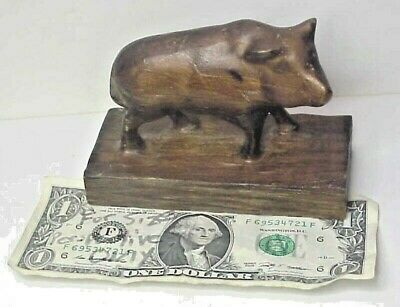 antique folk art hand carved wood Pig on Base carved from 1 block of pine
