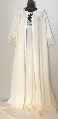 Vtg EMILIO PUCCI Formfit Rogers Ivory Nightgown Robe Set size Small 10 12 Lace