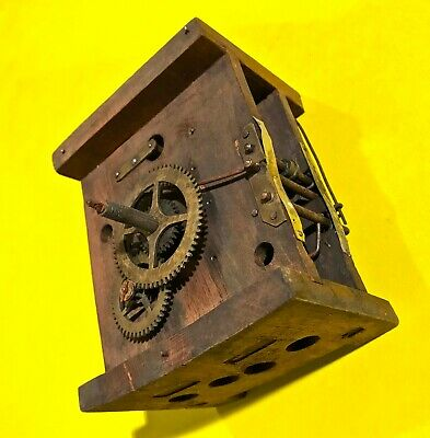 1890 Antique German Black Forest Shield Clock Wood Plate Mechanism, Bell Gong