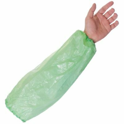 Green - Disposable Plastic Arm Sleeves Covers Oversleeves Cleaning Medical