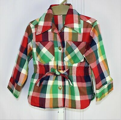 VIntage 60s 1960s Girls Health-Tex Stantogs Size 4 Plaid Blouse top